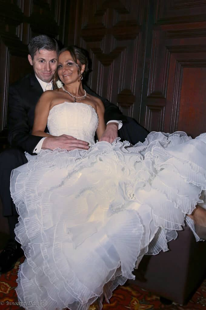 Edyta and Eric wedding photo, sitting on stairs