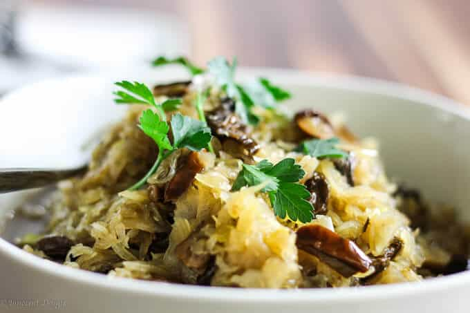 Sauerkraut and mushrooms