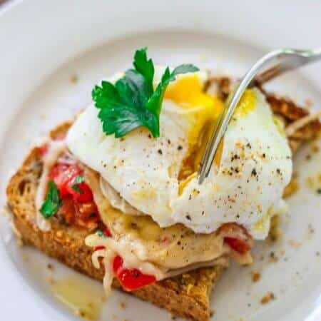 Poached Egg on Parmesan Tomato Toast