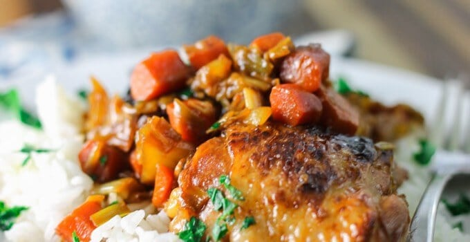 Braised chicken with carrots and leeks