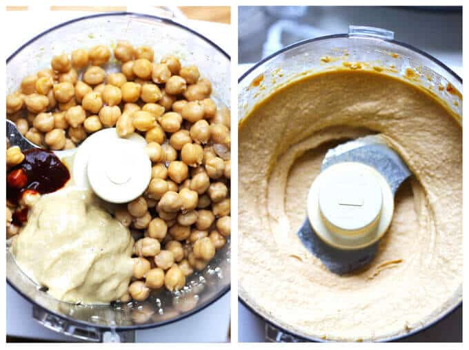 Chipotle Hummus with Roasted Pine Nuts is very simple and delicious with a hint of smokiness from spicy chipotles and nice crunch from roasted pine nuts.