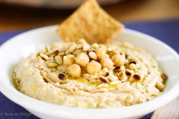 Chipotle hummus with pine nuts-2