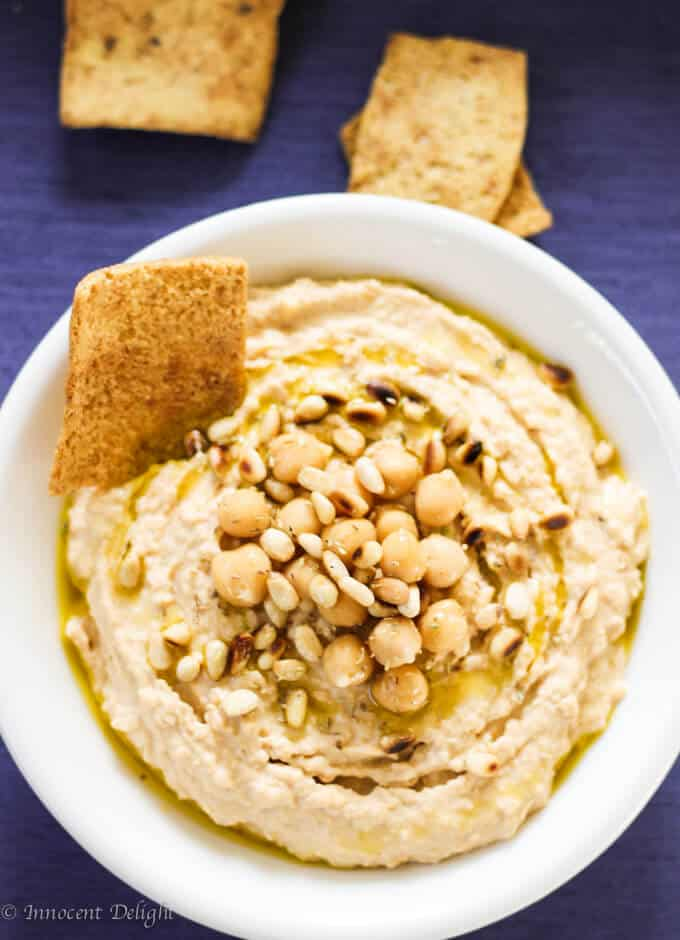 Chipotle hummus with pine nuts-3
