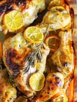 Dijon Chicken with Meyer Lemons and rosemary in a baking dish