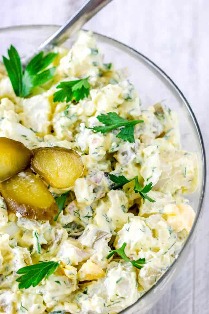 Potato Salad with Eggs and Pickles in a bowl