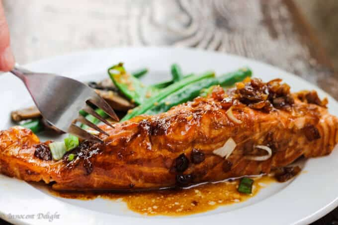 Grilled Salmon with simple homemade teriyaki sauce