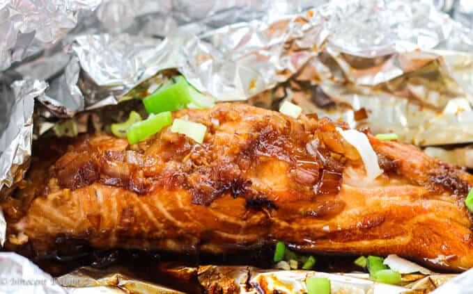 Grilled Salmon with simple homemade teriyaki sauce ...