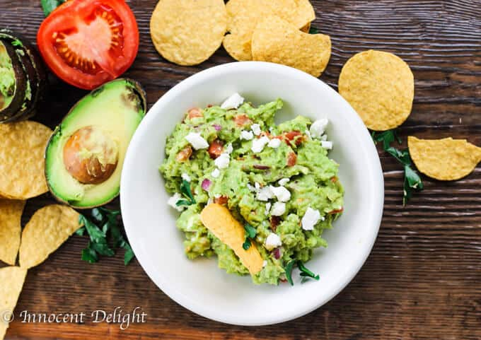 Guacamole with feta cheese