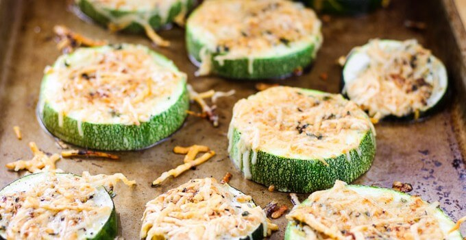 Parmesan crusted zucchini with black pepper, lemon zest and thyme