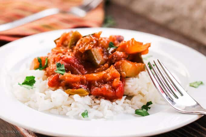 Tomato and peppers stew classic Hungarian Lescho