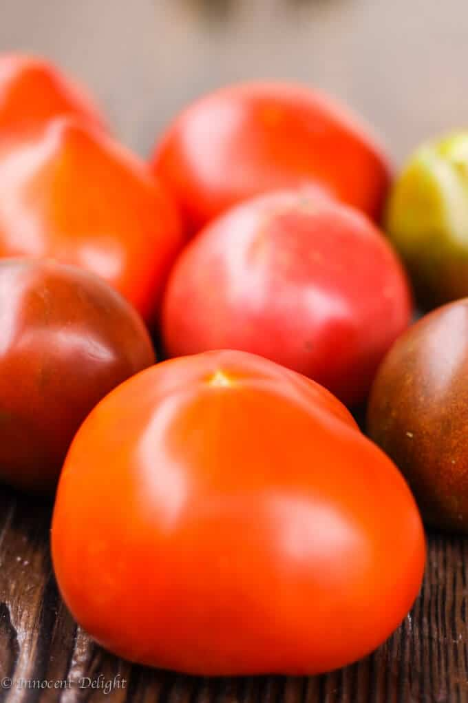 The photo of ripe tomatoes used in Hungarian Dish called Lecho