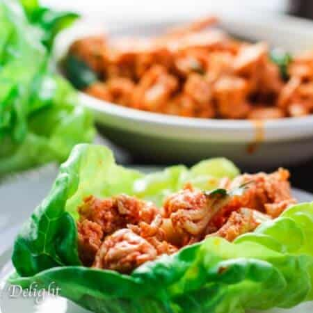 Buffalo Turkey Lettuce Wraps with Carrots Celery Slaw