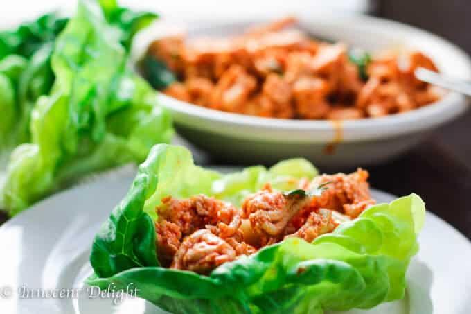 Buffalo Turkey Lettuce Wraps with Carrots Celery Slaw
