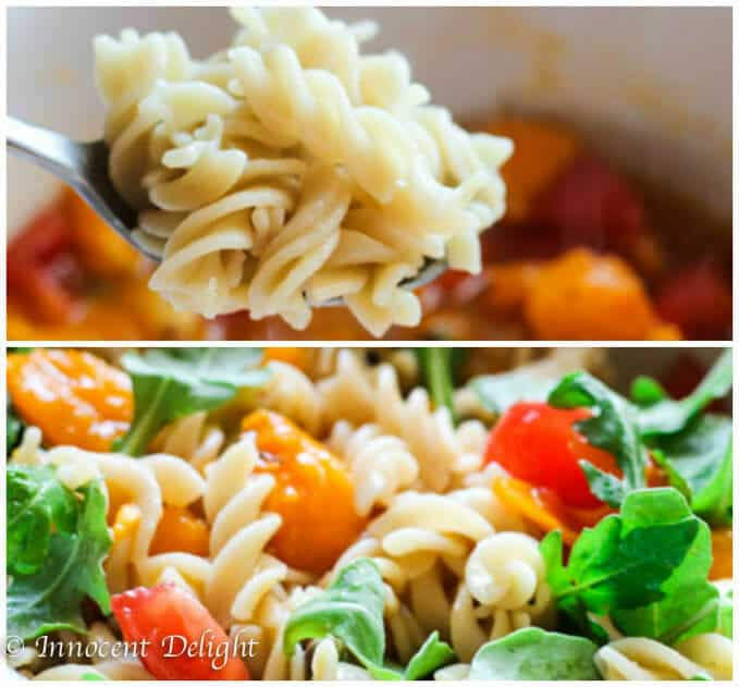 Quinoa pasta with No-cook tomato sauce
