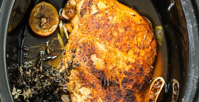 Slow cooker turkey breast - amazing alternative to roasting the whole bird. It is simple., delicious and takes only 5 minutes of prep time - Innocent Delight