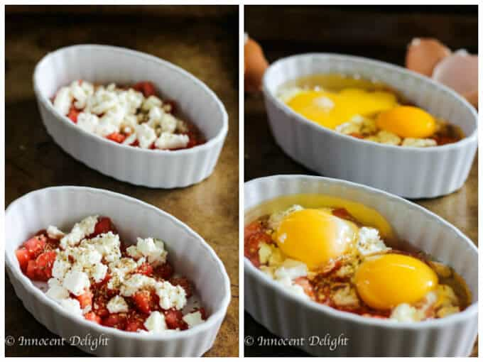 Baked Eggs with Tomatoes and Feta Cheese is a humble breakfast dish with Mediterranean flavors that comes together super quick.