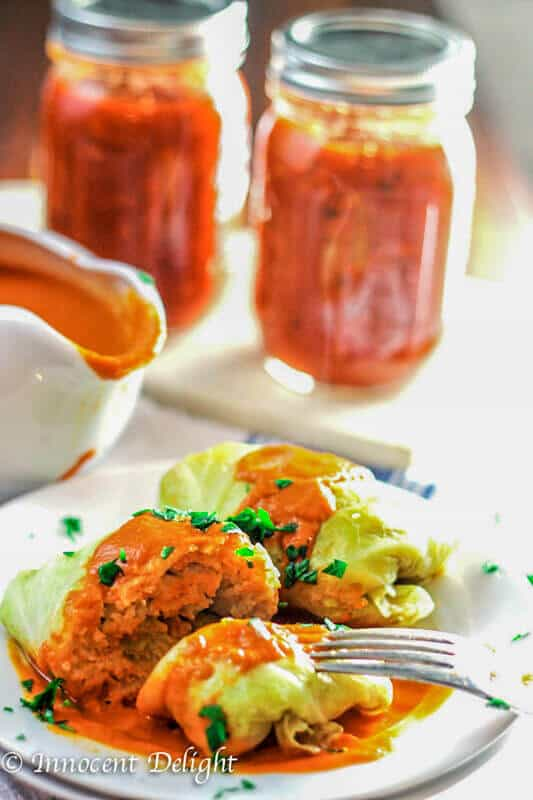 Stuffed Cabbage Rolls Golabki on a plate with sauce on a side