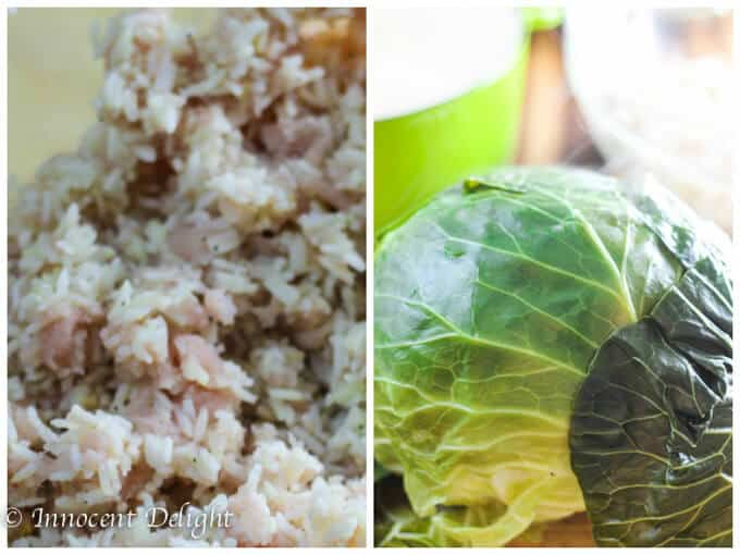 Skinny Stuffed Cabbage-process shot: mixed rice and turkey and cabbage
