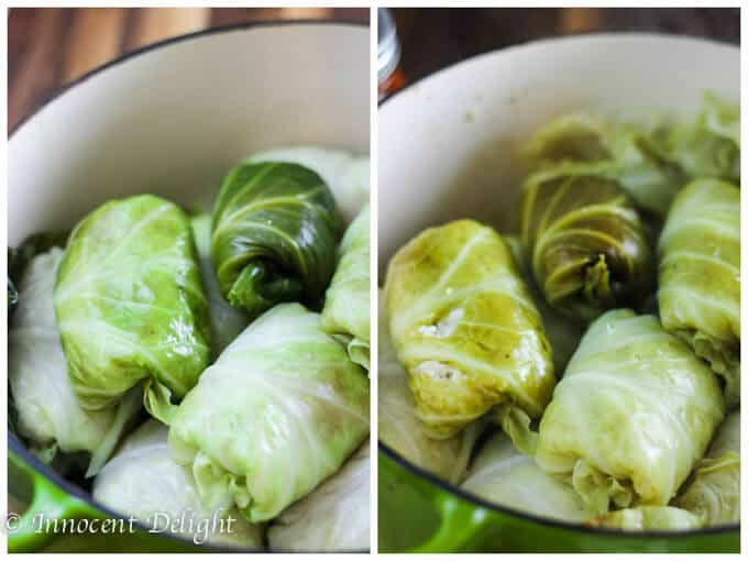 Skinny Stuffed Cabbage Rolls - process shot: cooking the cabbage