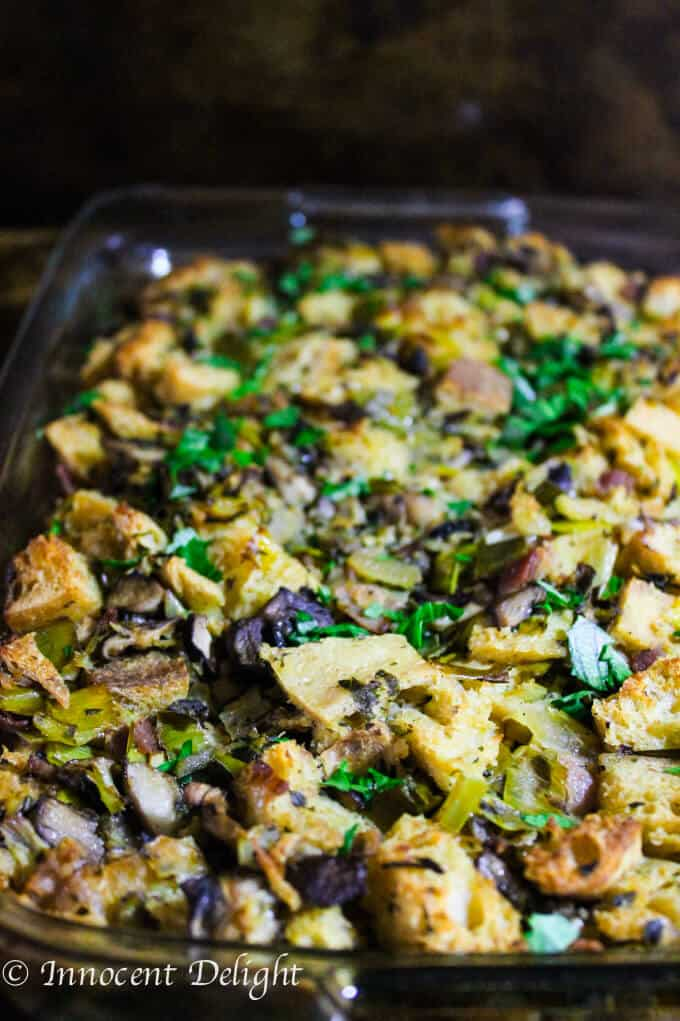 Sourdough Mushrooms Leaks and Bacon Stuffing