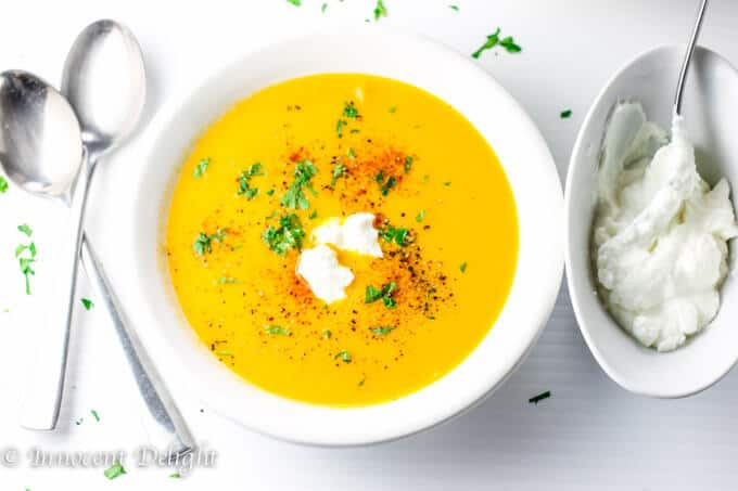 Golden Bell Pepper Soup with Cayenne and Greek Yogurt