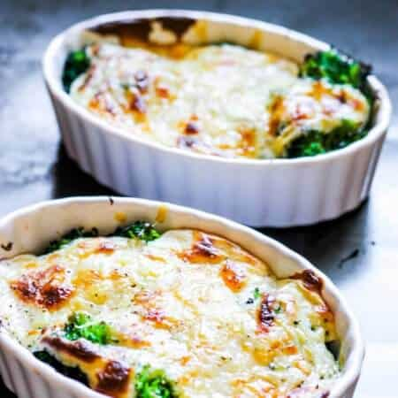 Broccoli Au Gratin is a delicious dish of American favorite vegetable topped with amazing cheesy sauce that is baked to perfection. Few simple ingredients mixed with sophisticated Gruyere cheese makes this dish both rustic and elegant. Even broccoli skeptics can become a fans.