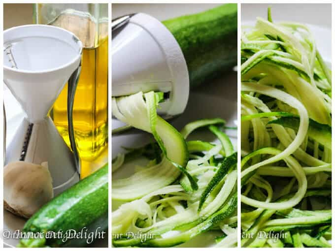 Garlic lemon zucchini noodles