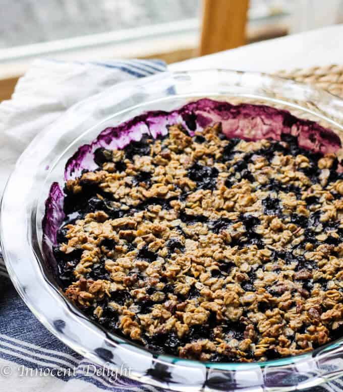 Blueberry Crisp with Pecans Oatmeal and Maple Syrup