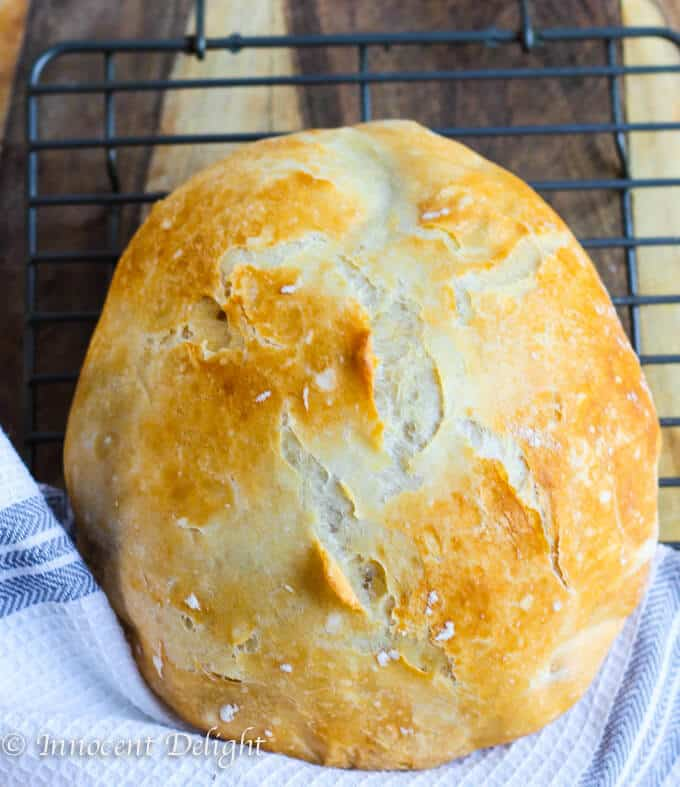 Homemade Dutch Oven Crusty Bread on a sheet rack with kitchen towel