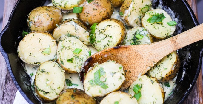 New Dill Potatoes with Scallion Cream Sauce