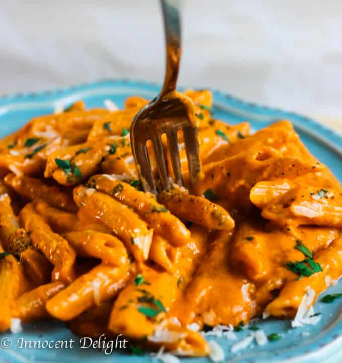 Penne Alla Vecchia Bettola - pasta recipe with Oven Roasted Tomato Sauce from the famous East Hampton's restaurant: Nick and Toni's, featured by Ina Garten on Food Network - Barefoot Contessa; with my little twist of using fresh tomatoes from my own garden.