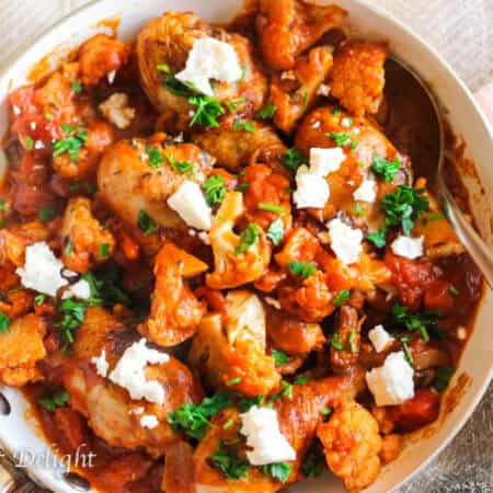 Greek Chicken with Tomatoes, Cauliflower and Feta