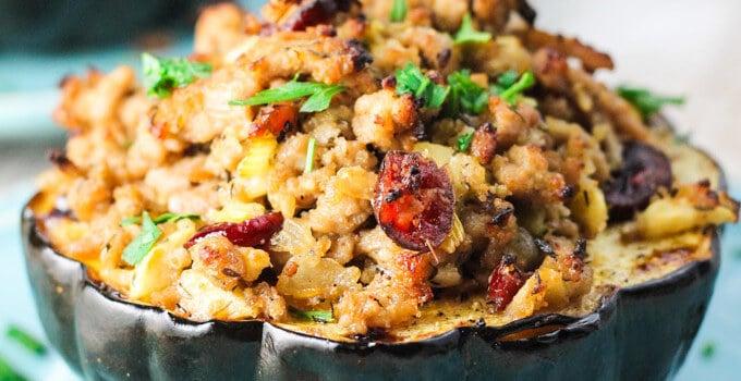 Turkey Stuffed Acorn Squash – all fall flavors in one dish
