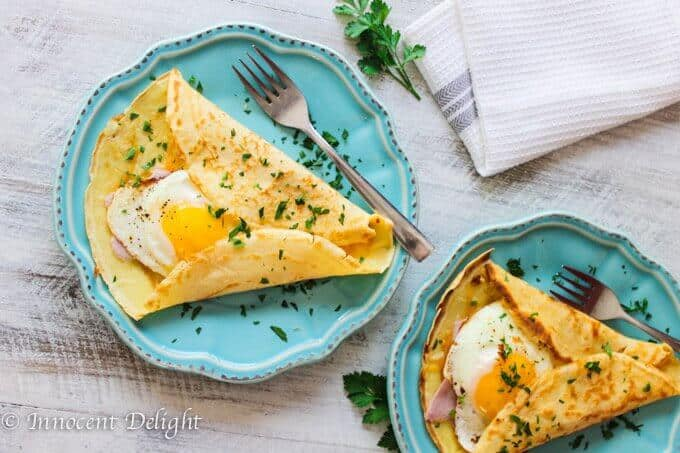 Crepes with egg, ham and cheese