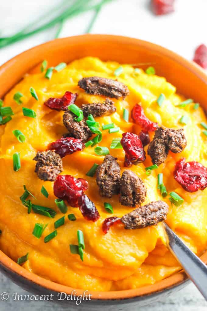 For this Maple Mashed Sweet Potatoes with Candid Pecans, Crasins and Chives