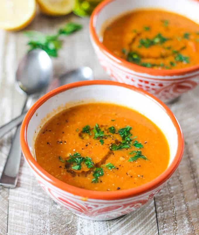 Perfect healthy, vegan, gluten free treat on chilly fall or freezing cold winter days. Tomatoes Red Lentils Coconut Soup - doesn't it sound amazing?