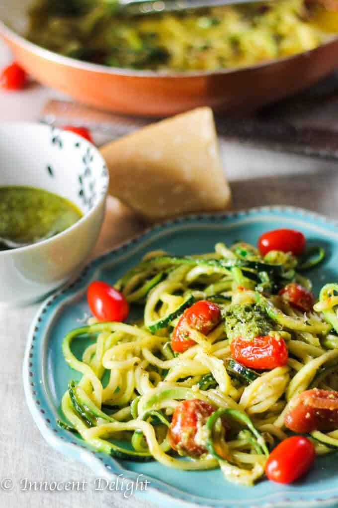 Pesto Zucchini Noodles with Cherry Tomatoes
