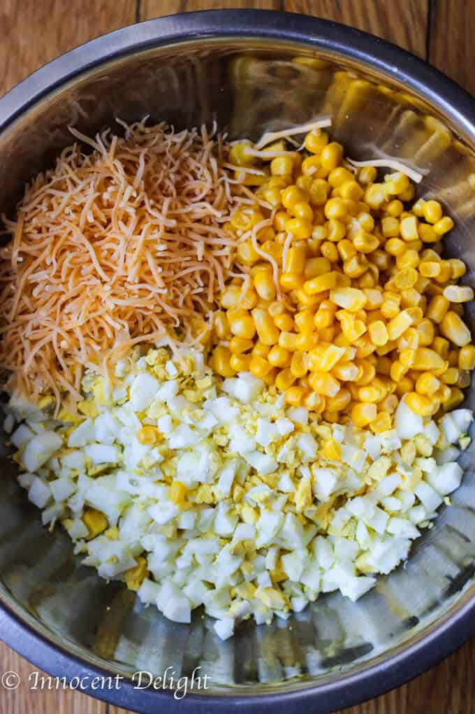 Unique Egg Salad with Corn, Cheese and Smoked Paprika