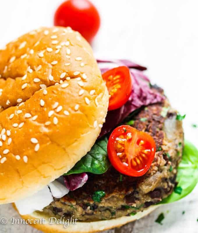 Mushroom Veggie Burger (with Black Beans)