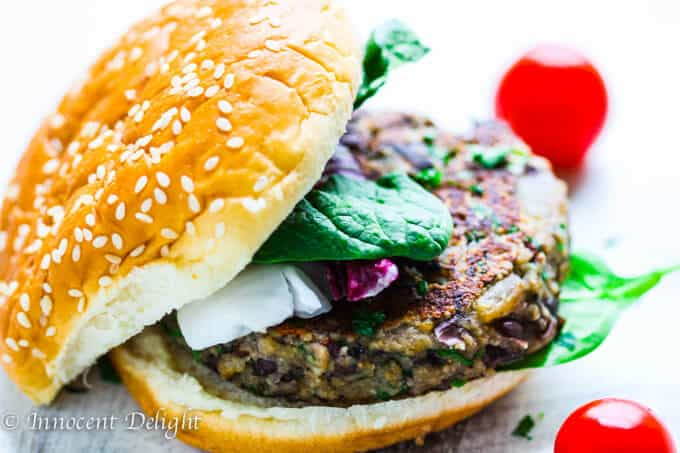 Mushroom Black Bean Veggie Burger