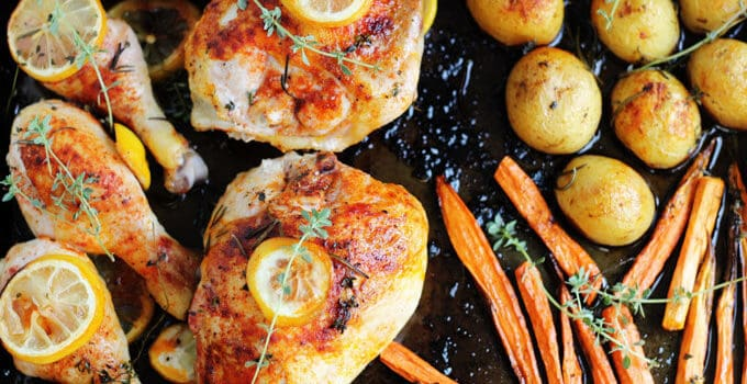 One Pan Herbed Lemon Chicken with Veggies Recipe