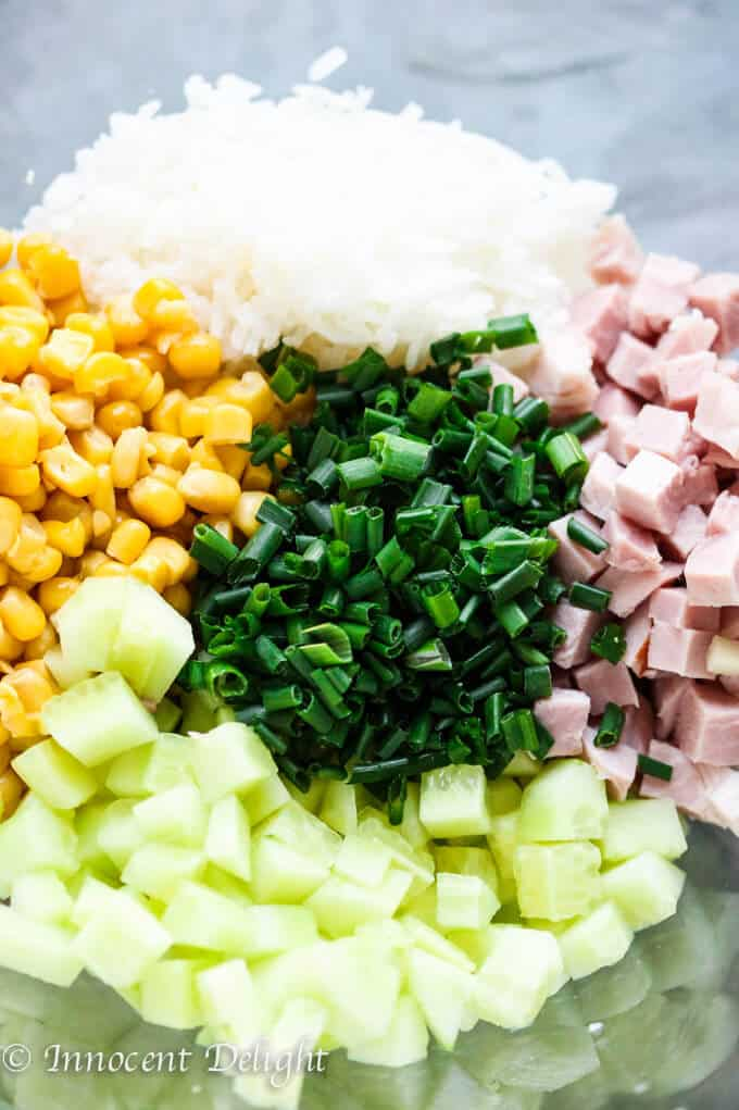 Rice Salad with Corn, Ham, Cucumber and Chives - super easy and refreshing salad that can easily replace your potato or pasta salad for the next BBQ gathering