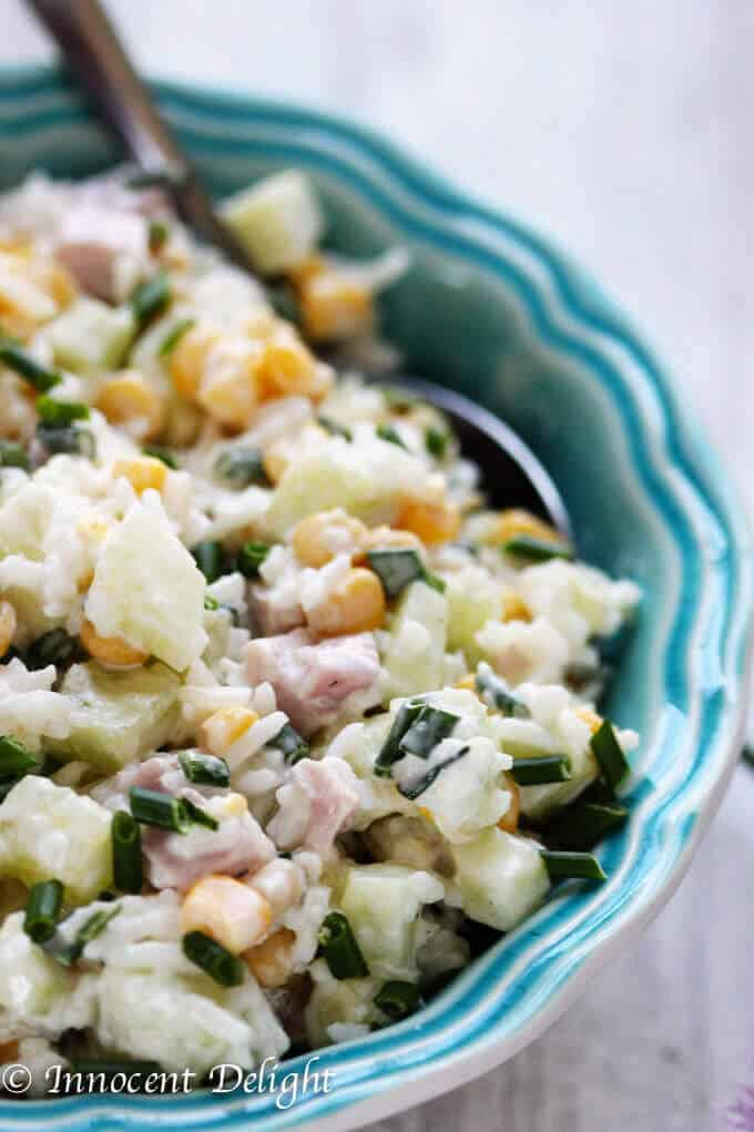 Rice Salad with Corn, Ham, Cucumber and Chives - super easy and refreshing salad that can easily replace your potato or pasta salad for the next BBQ gathering.