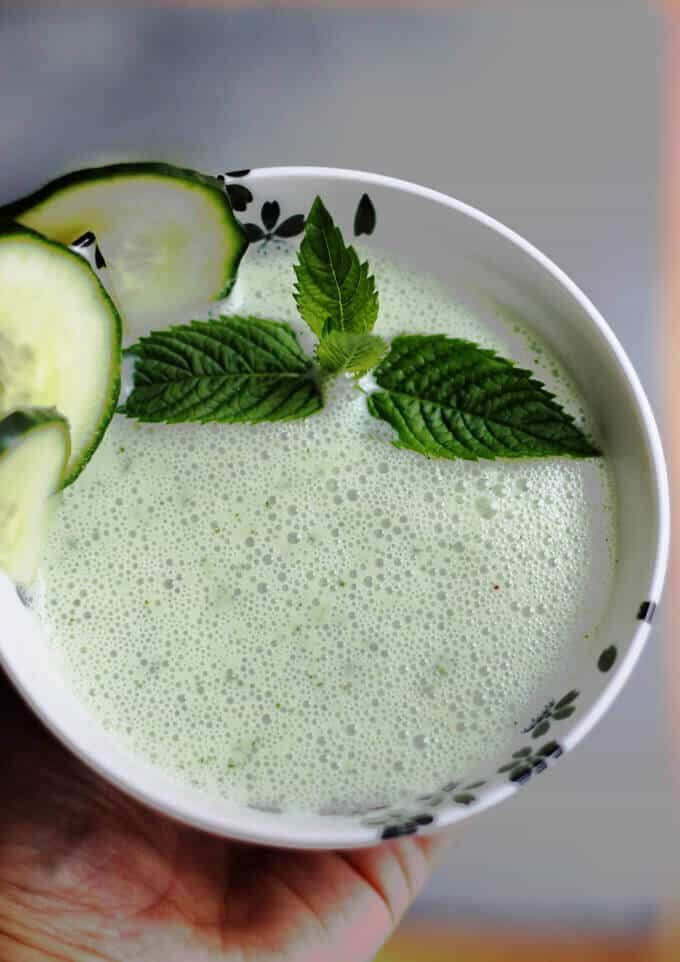Chilled Cucumber Mint Soup with Kefir Recipe - perfect refreshing summer chilled soup with great flavors. Packed with healthy probiotics and tons of vitamins and minerals.