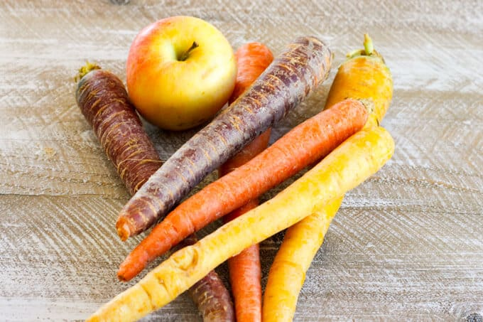 Rainbow Carrots Apple Slaw - delicious, healthy and crunchy fall slaw with the best seasonal apple and rainbow carrots that can be served with any main course.
