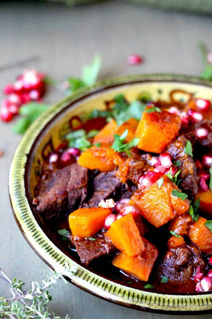 Butternut Squash Beef Stew with Cinnamon and Pomegranates - perfect comfort winter food - Innocent Delight