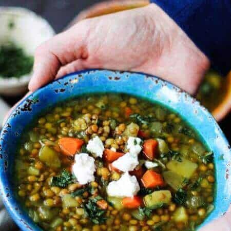 Greek Lentil Soup with Feta - Fakes | Innocent Delight