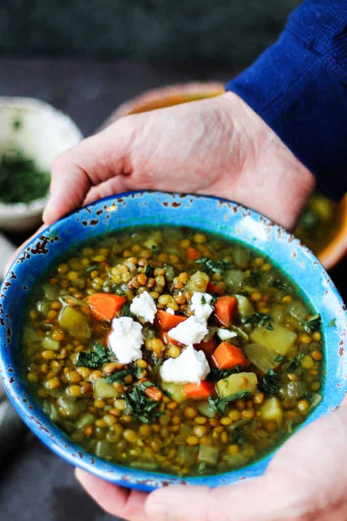 Greek Lentil Soup with Feta in a blue ball