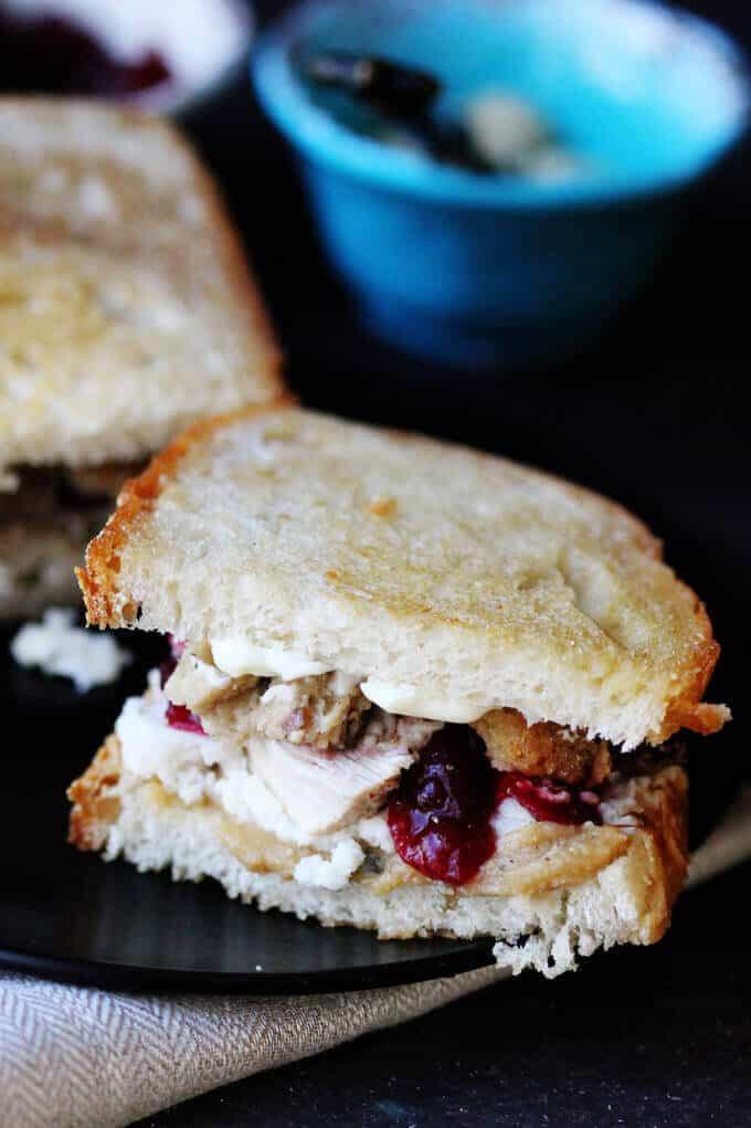 Leftover Turkey Sandwich - ultimate Thanksgiving perfect bite