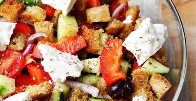 Greek Panzanella Salad with Garlic Lemon Vinaigrette